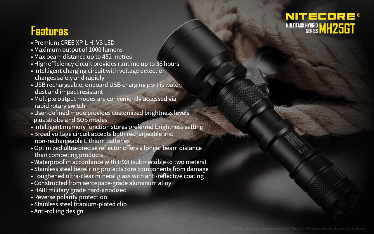nitecore mh25gt funktioner